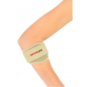 ORTHOLIFE PADDED TENNIS ELBOW BRACE WITH SILICONE PAD / BEIGE /  UNIVERSAL  (D)